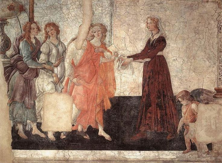 Venus and the Three Graces presenting gifts to a young woman - Sandro Botticelli