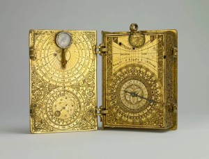 Gilt-brass cased clock-watch with alarm, sundials and lunar volvelle in the form of a book by Hans Kock d.1603
